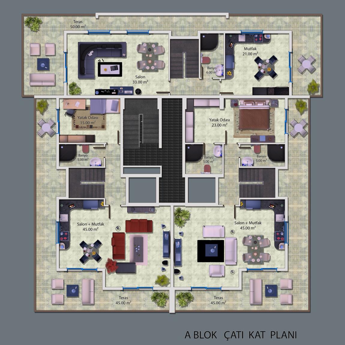 Ceray PARK Grundriss Standard Apartment 2+1 West