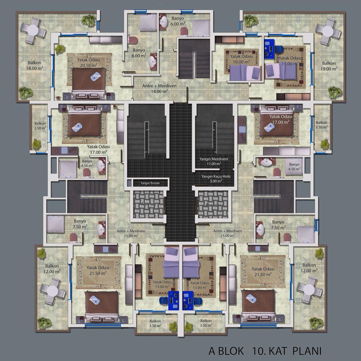Ceray PARK Grundriss Standard Apartment 2+1 Suedost