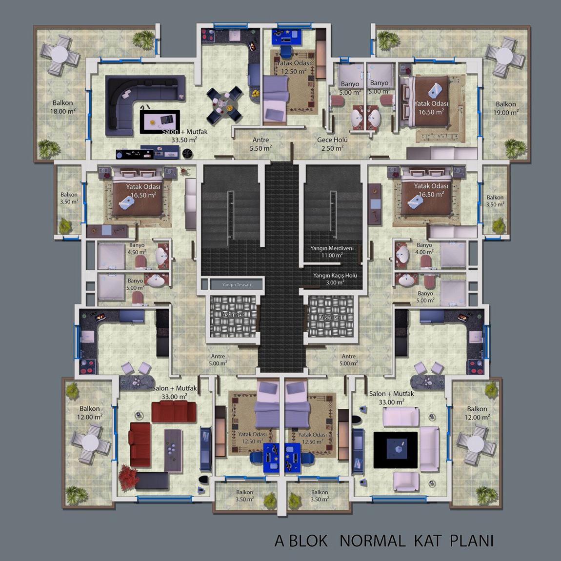Ceray Park Grundriss Standard Apartment 2+1 Ost