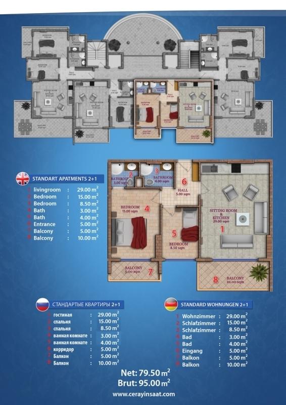 Ceray V.I.P Grundriss Standard Apartment 2+1 Suedost