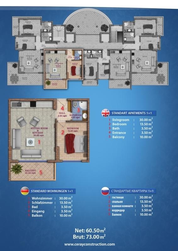 Ceray V.I.P Grundriss Standard Apartment 2+1 Suedwest